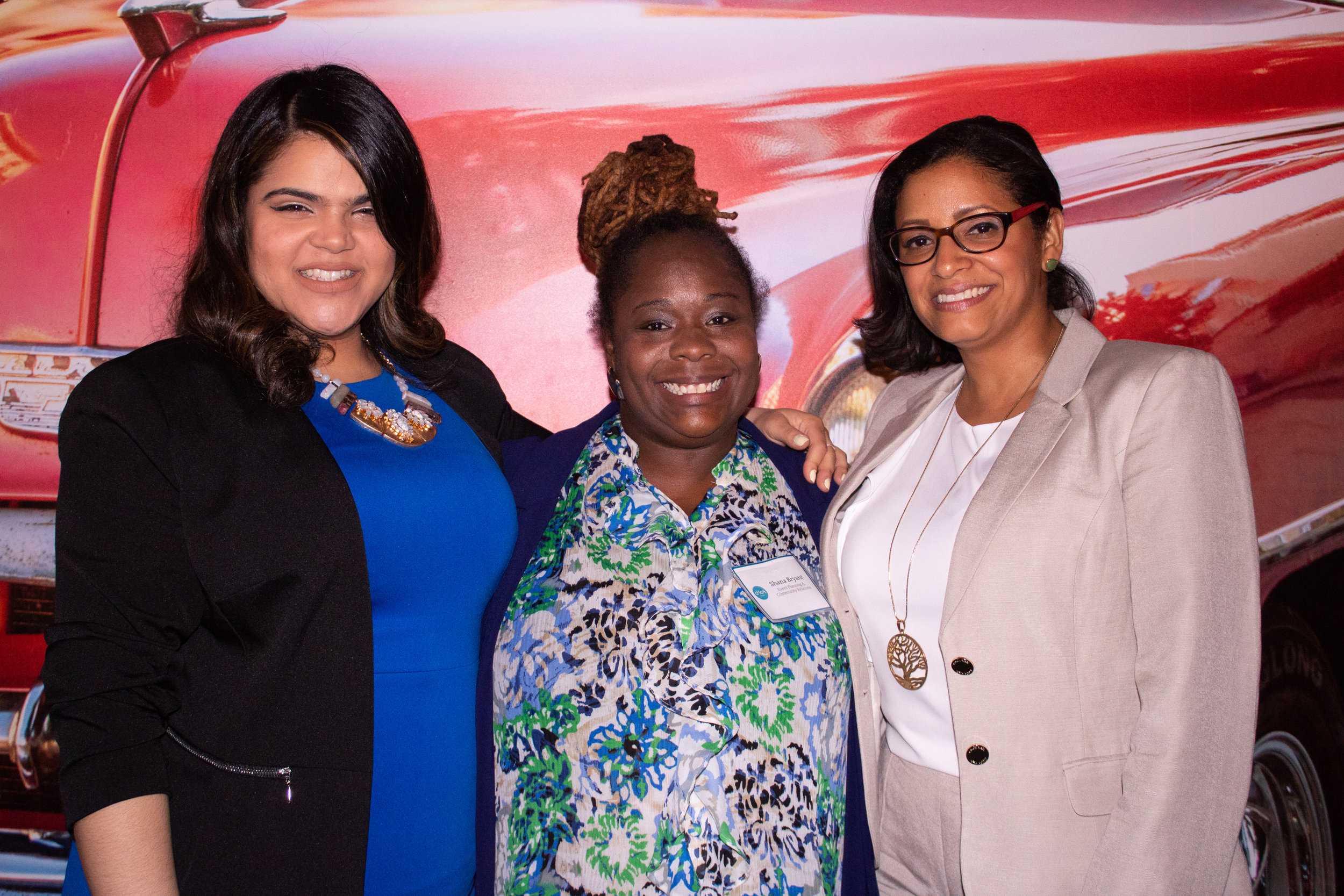 Shana Bryant (center) poses with Chica Project Interim Executive Director, Erika Rodriguez (left) and Chica Project Founder, Nurys Camargo (right).