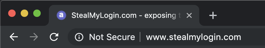 Example of website that is not secure