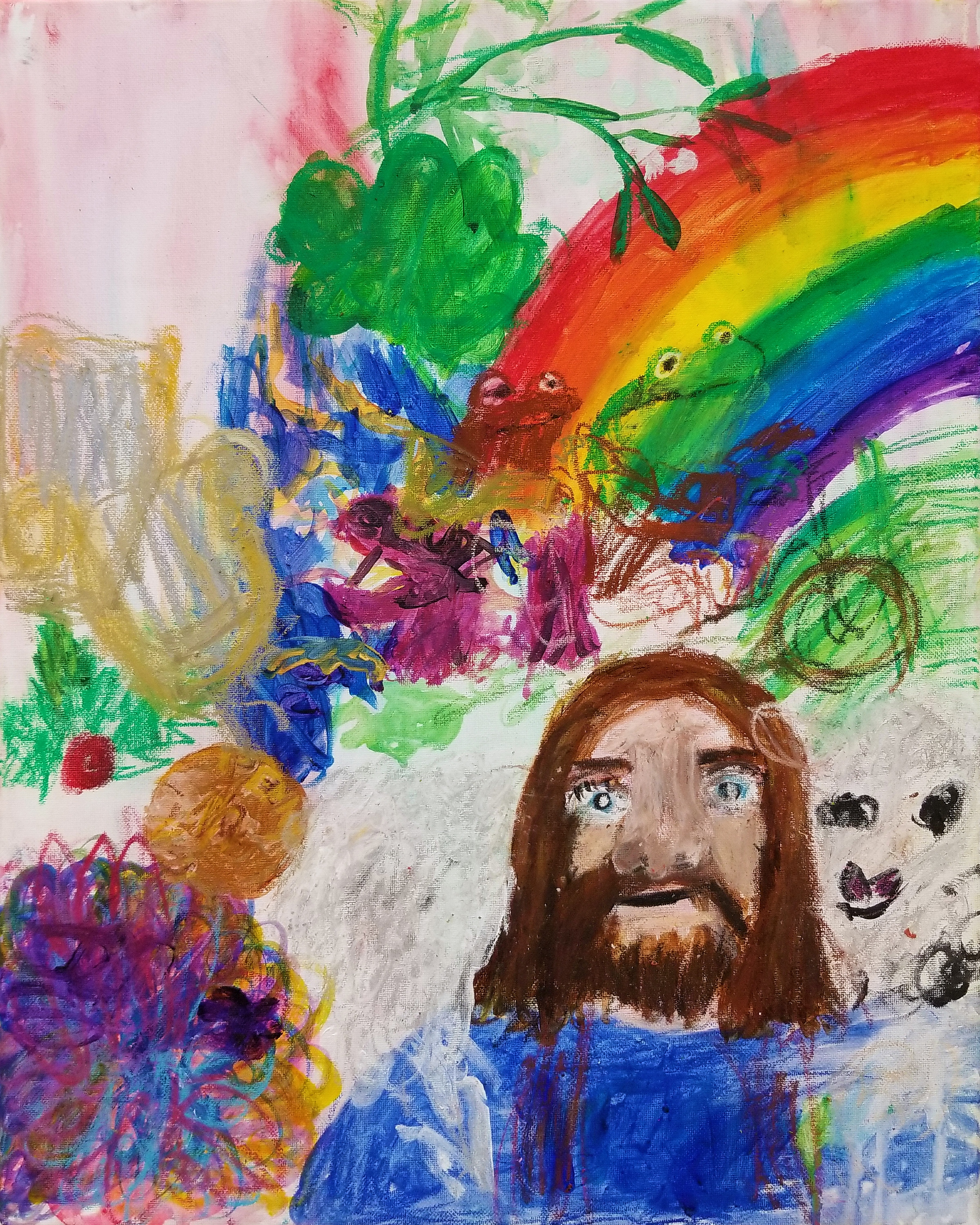 Lord Jesus and the Lamb - acrylic and oil pastel on canvas - 2018.jpg