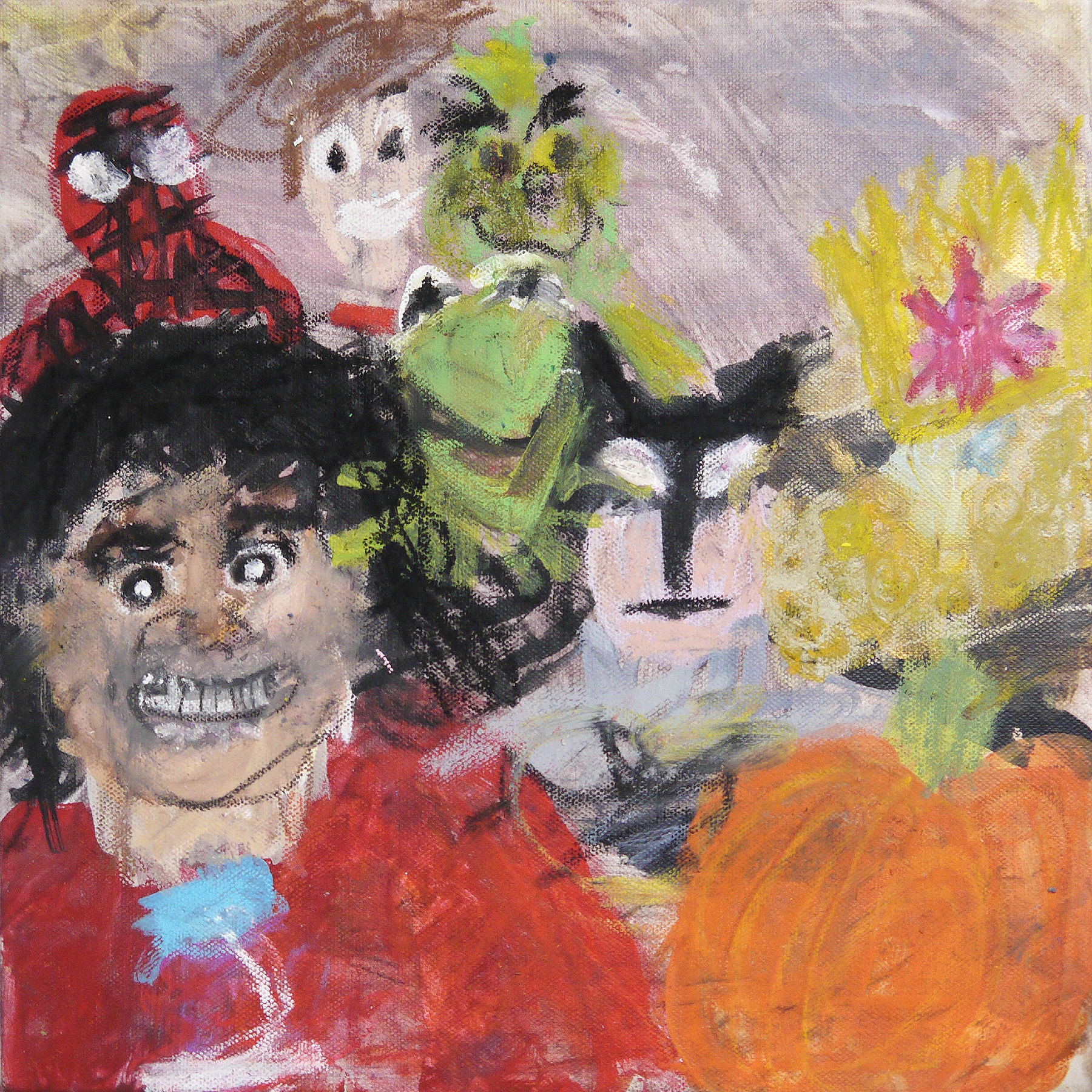 Michael Jackson and Spider-Man and TREASURE - acrylic and oil pastel on canvas - 2018.jpg