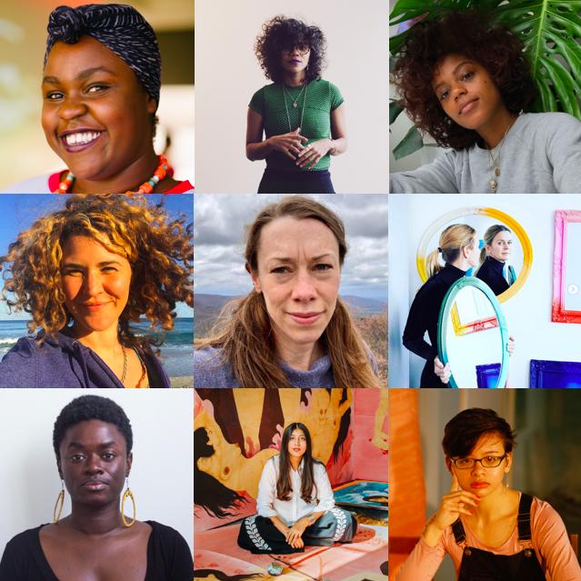 From top left to bottom right: Delali Ayivor, Lizania Cruz, Tarah Douglas, Tamar Ettun, Alison McNulty, Anne Nowak, Keisha Scarville, Hiba Schahbaz and Sacha Vega