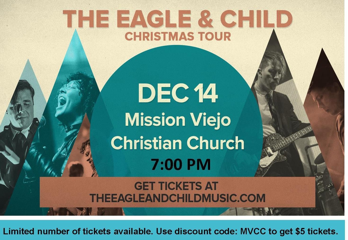 The Eagle and Child is a rock/worship band from San Diego, that has spent the recent years crafting a dynamic, and reverent Christmas Concert. Passionate about reflecting God's creativity through music and art, The Eagle And Child have crafted compelling, joyous, reflective arrangements of our favorite Christmas Songs. This event, using music and art, drums... a lot of drums... will focus on the most significant arrival since time began, the incarnation of The Son of God. Invite your friends, family, believers, and non-believers to celebrate this season together.