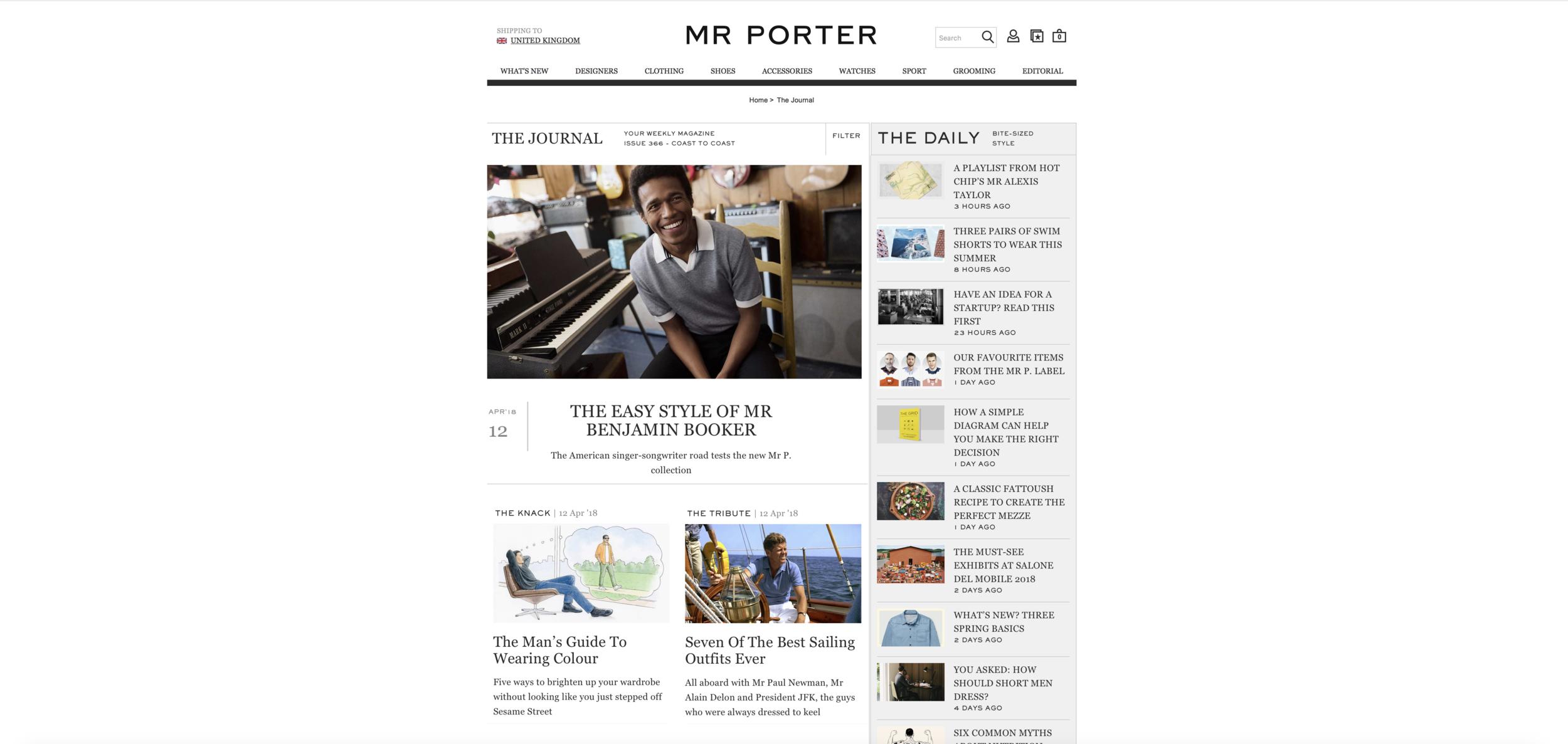 Mr Porter's Journal Section