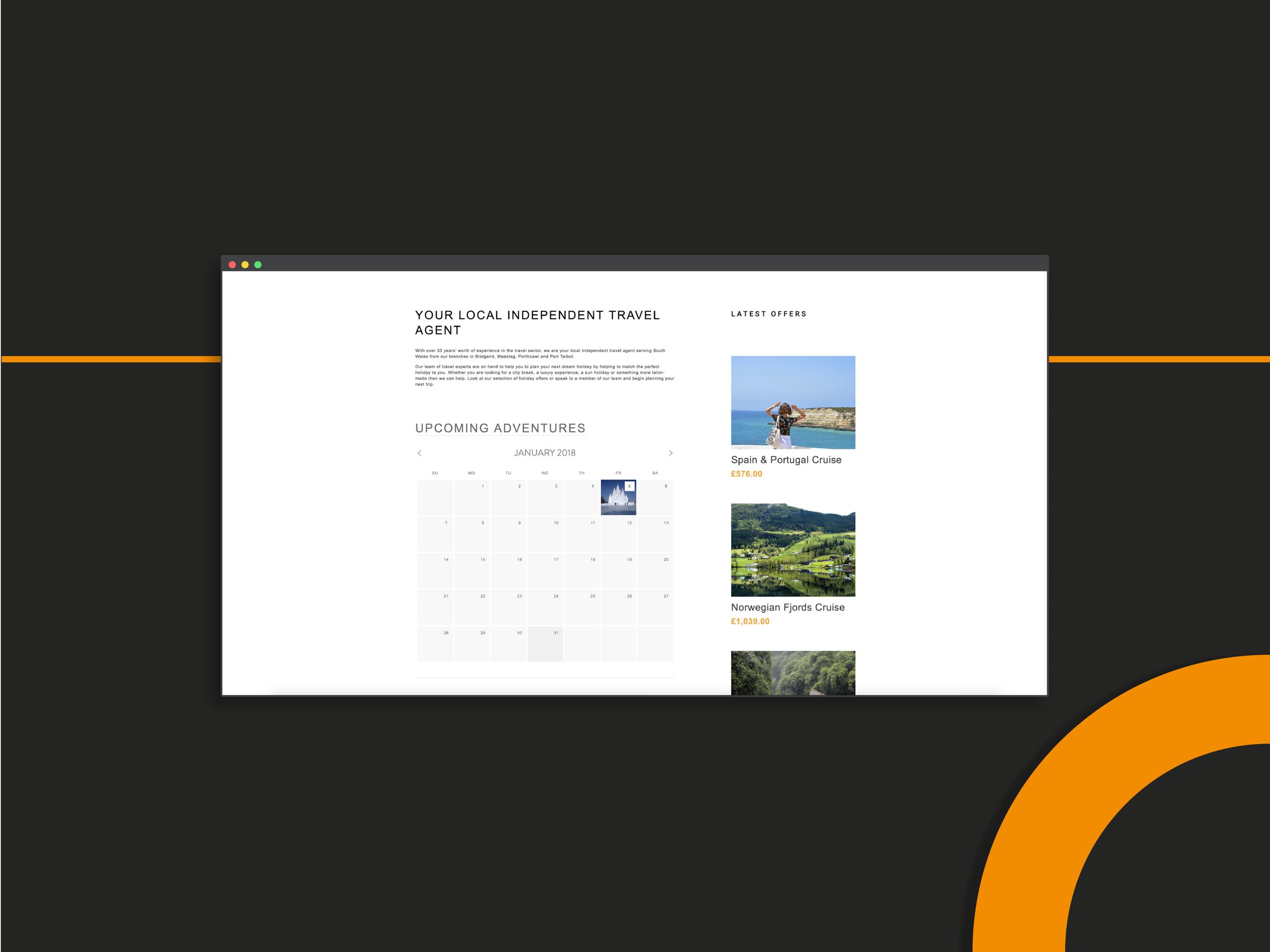 bucket list web design for travel