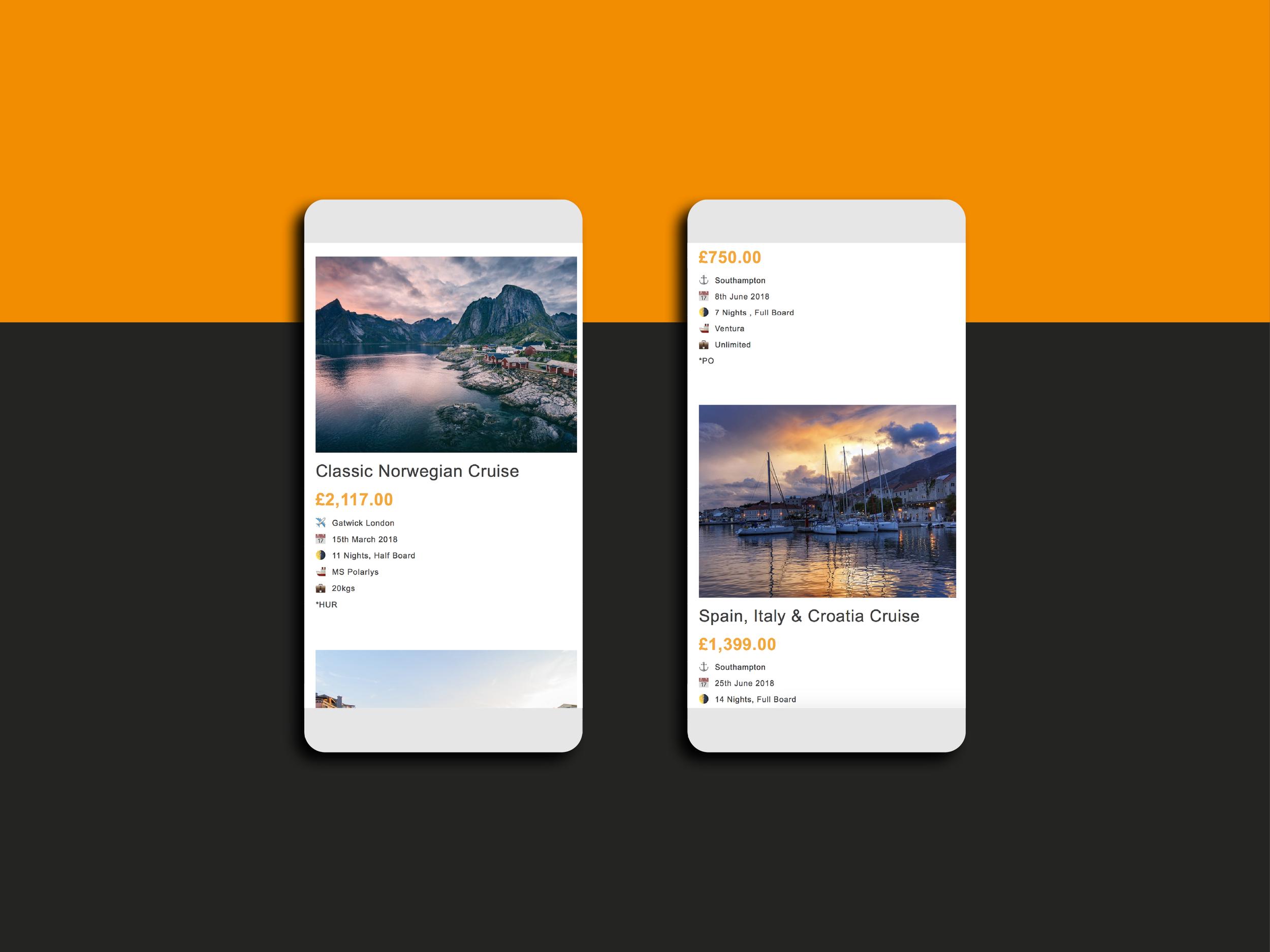 mobile website design for travel retailer