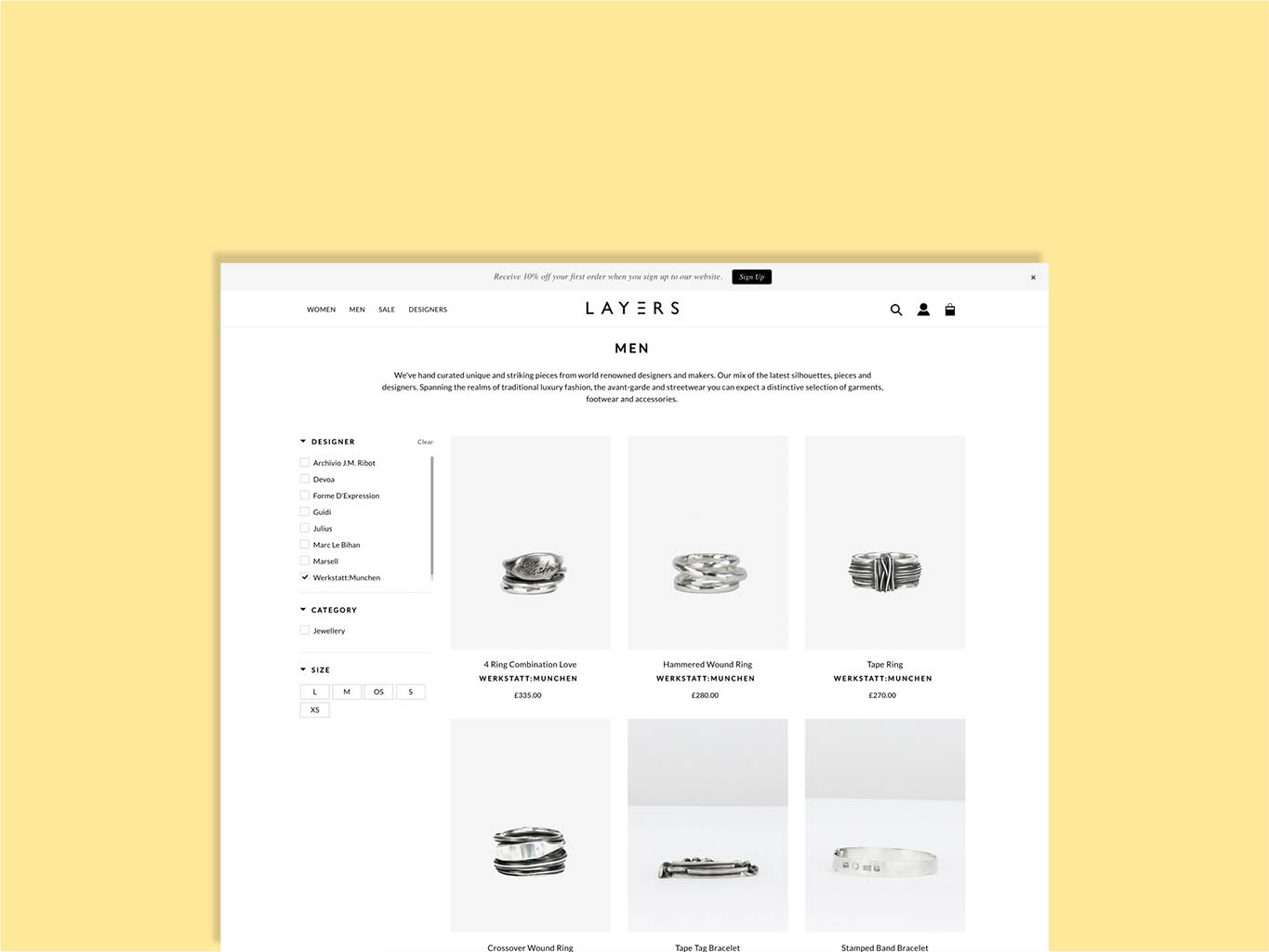 jewellery page design for fashion retailer