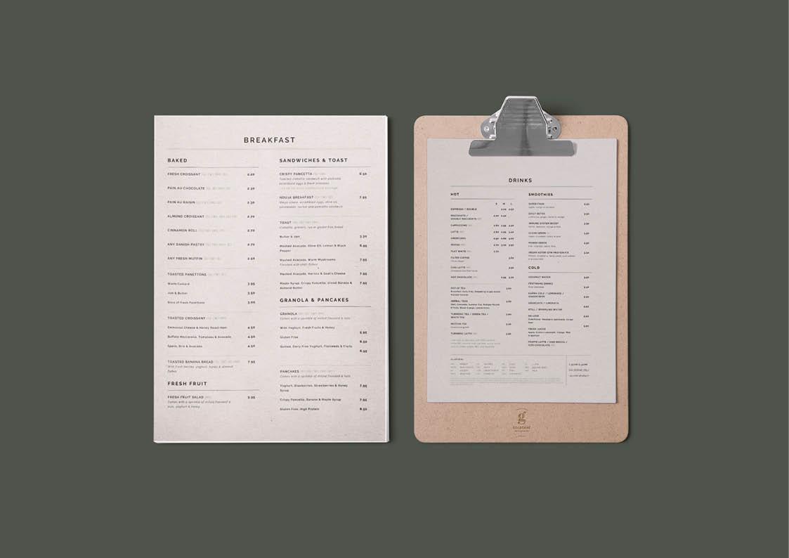 london cafe menu design