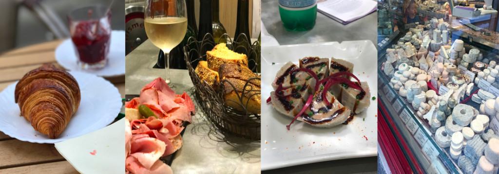 Croissant, l'avant compotoir, alcachofra e queijos deliciosos na rue cler