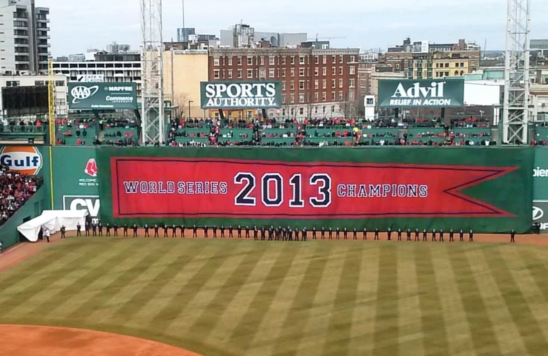 Raising of the Red Sox 2013 World Series Banner  Sharpshooter Imaging, Fenway Park