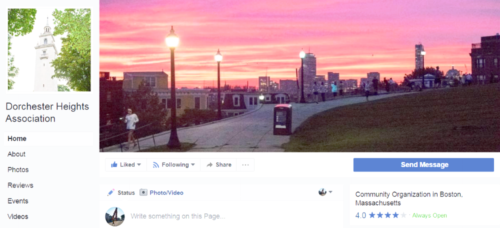 The Dorchester Heights Neighborhood Civic Association of South Boston featured Capturing Inspiration's monument and sunset photos on their Facebook page.