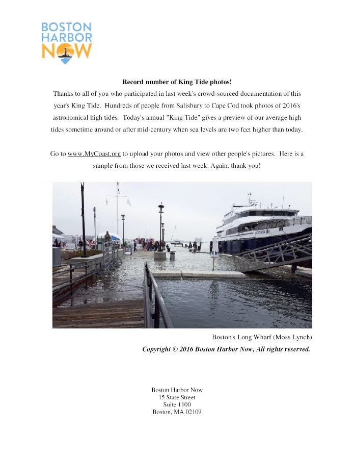 Capturing Inspiration Photographer, Moss Lynch, was featured in the Boston Harbor Now Newsletter during Boston's record breaking King Tide in 2016.