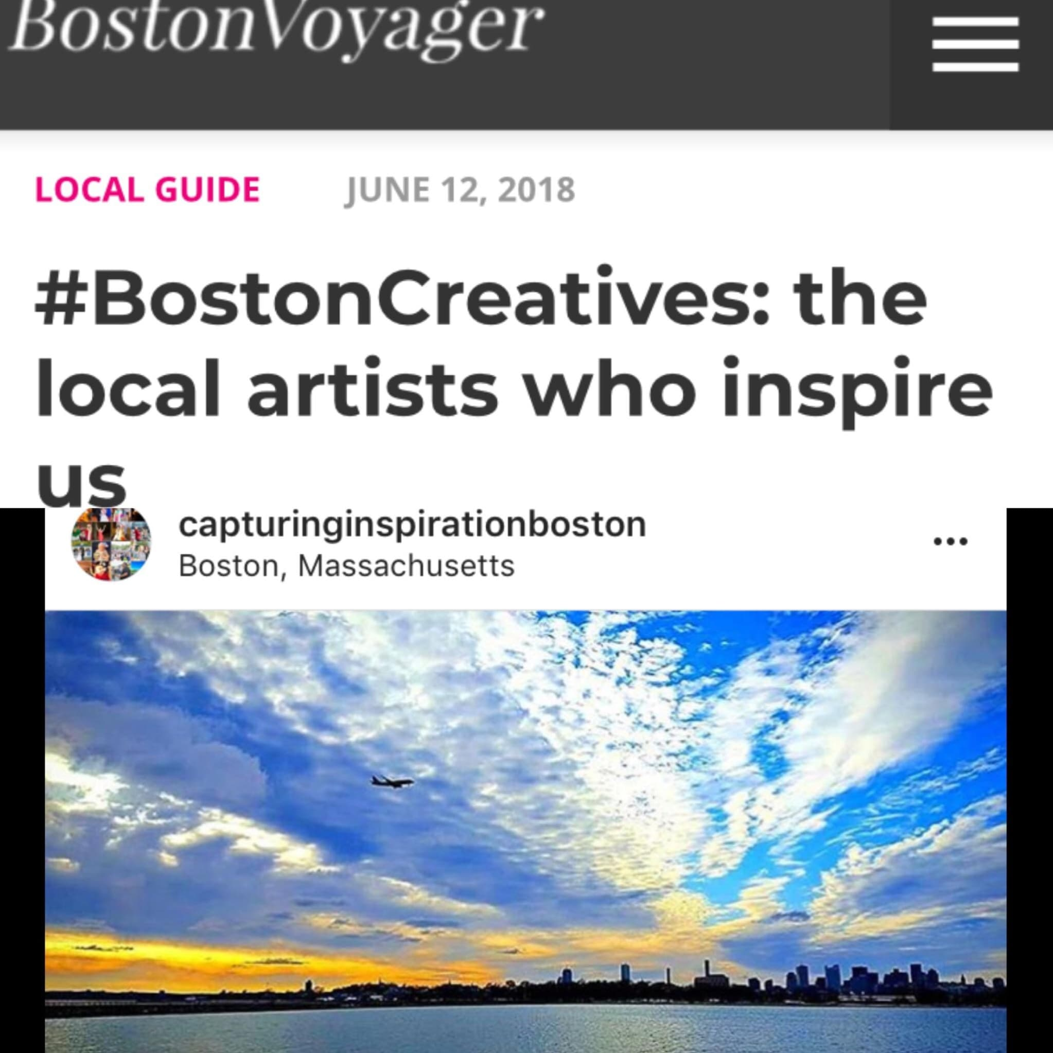 Local Artists who inspire us - The Boston Voyager Magazine published Moss Lynch, Proprietor of Capturing Inspiration, in their June 2018 issue as one of their,