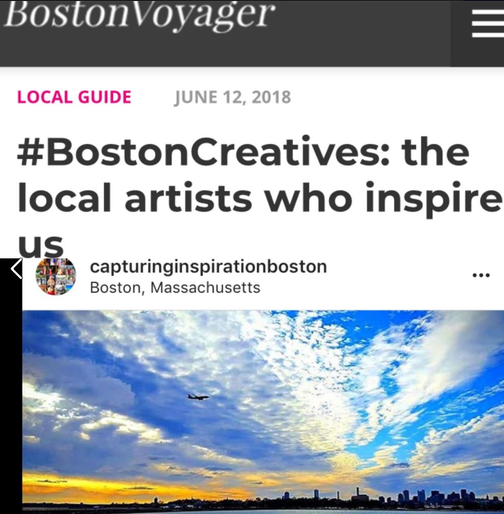 - Local Artists Who Inspire Us2018Capturing Inspiration was featured by the Boston Voyager Magazine in their series of #BostonCreatives: The Local Artists Who Inspire Us for our extensive, customized, and customer-friendly photography events throughout Massachusetts.We are proud to provide exceptional photography that continues to inspire our hometown.Thank you Boston Voyager for the honor!Read more at: http://bostonvoyager.com/interview/art-life-moss-lynch/
