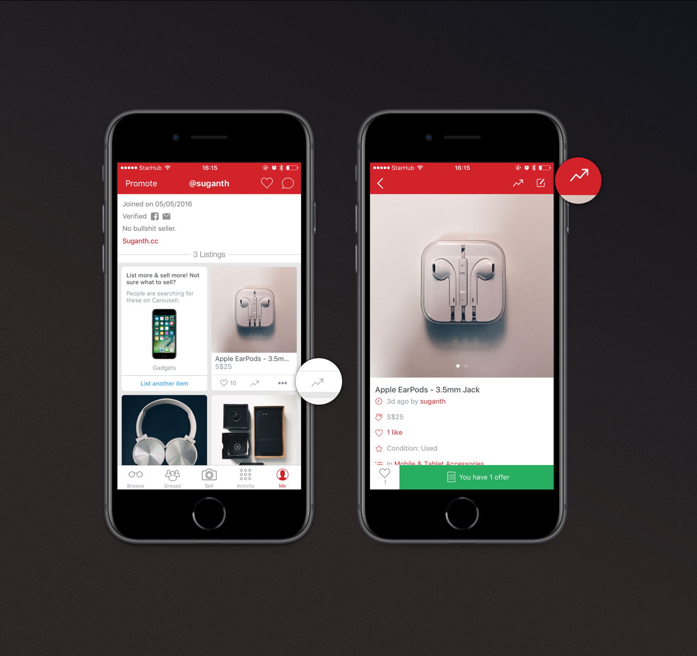 Left to right:  Profile page and Product Details Page