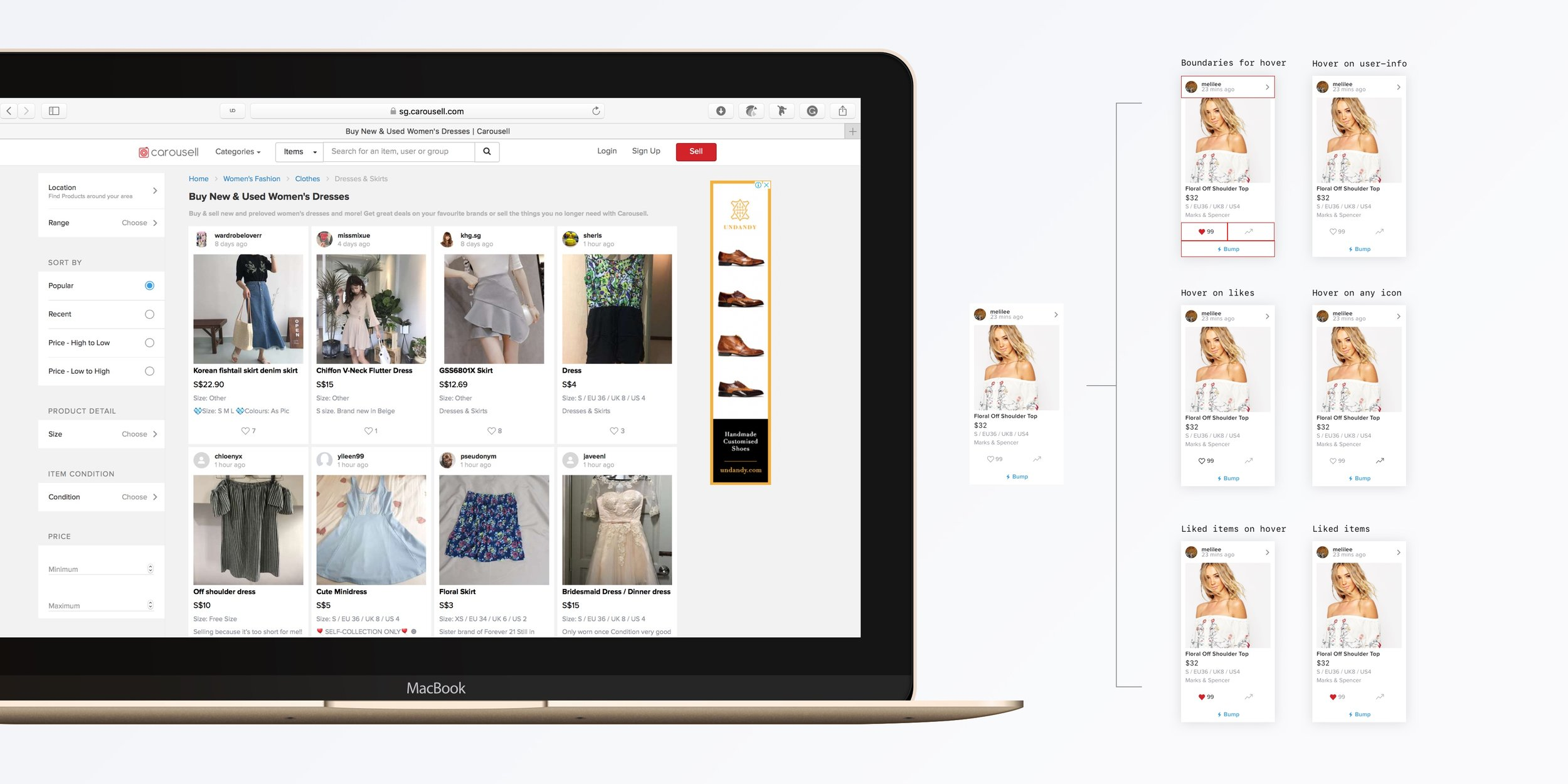 Additionally, the web app included more complexity and missing features compared to the app. We designed in a way it's easy on hover and users can quickly scan.