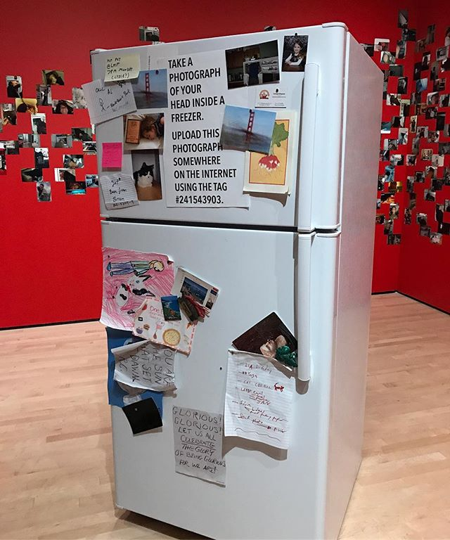Funny to see a curated fridge copycat at SFMOMA! It's part of a great exhibit about sharing and sending pics, a constant since the invention of photography. #sfmoma #snapshare #thecuratedfridge