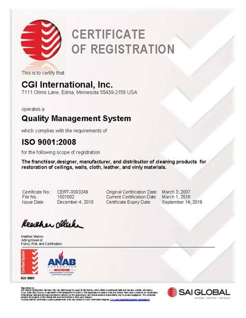 Color Glo International ISO 9001: 2008 Certification