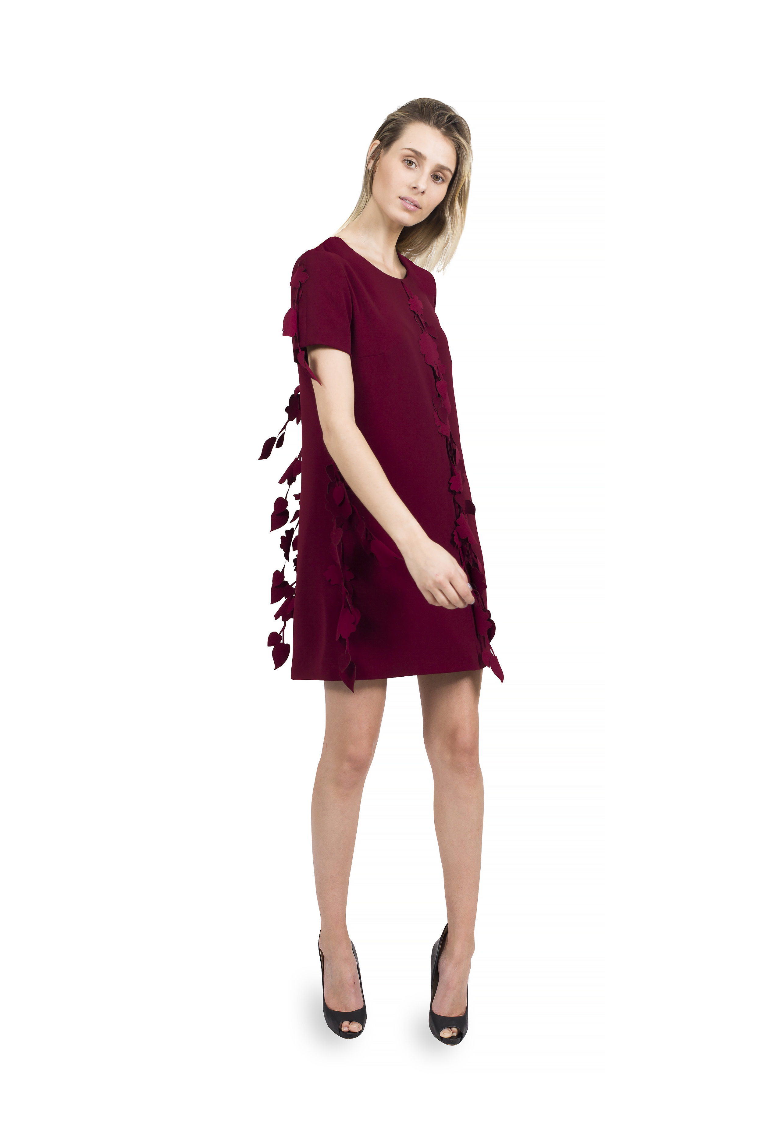 #233 Jewel Neck Arak Dress with Sleeves and Cherry Blossom Detail at Seams.jpg