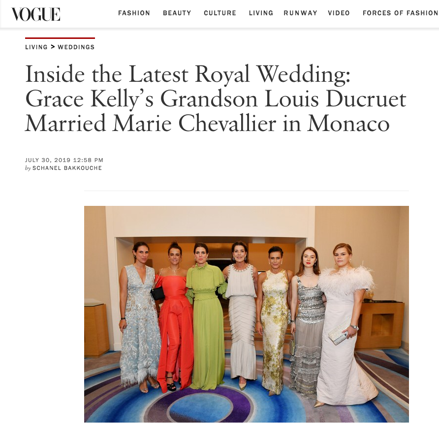 Vogue: Camille Gottlieb Royal Wedding in Monaco - Featuring the Off Shoulder Oriel Feather Gown