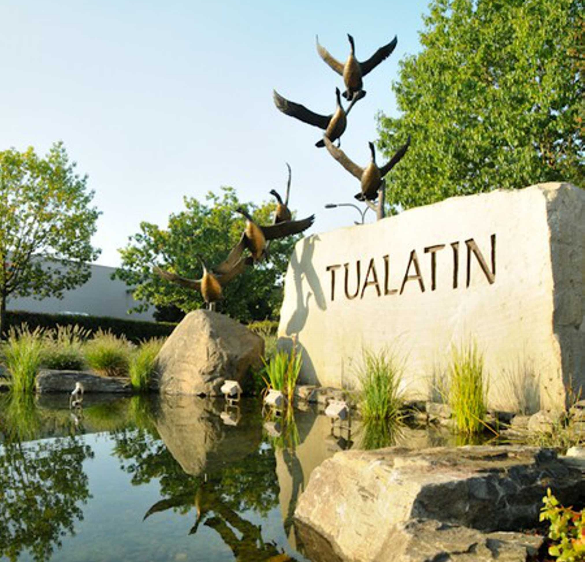 Case Study |City of Tualatin - Photos of the City of Tualatin Art Entry Monument show the process from schematic to completion. The hand rendered sketch designed by Janelle Baglien won Studio Art Direct the award to create this $375K art installation. Our work included a wetland pond, 20,000 pound carved rock with footings, and an 18' high custom commissioned bronze sculpture by R. Caswell. Studio Art Direct coordinated three artists, civil and structural engineers, contractors, and the city commission to a successful installation that culminated in a daring one-night street closure. The installation speaks to the city's wetlands and shared leadership as symbolized by the geese.Awarded First Place in the Daily Journal of Commerce DMWESB TopProjects CompetitionFeatured in the Oregonian for design excellenceView the making of video