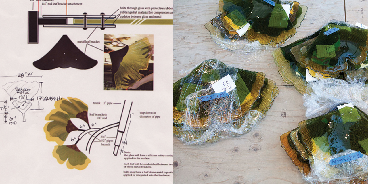 Studio Art Direct Glass Gingko Art Installation