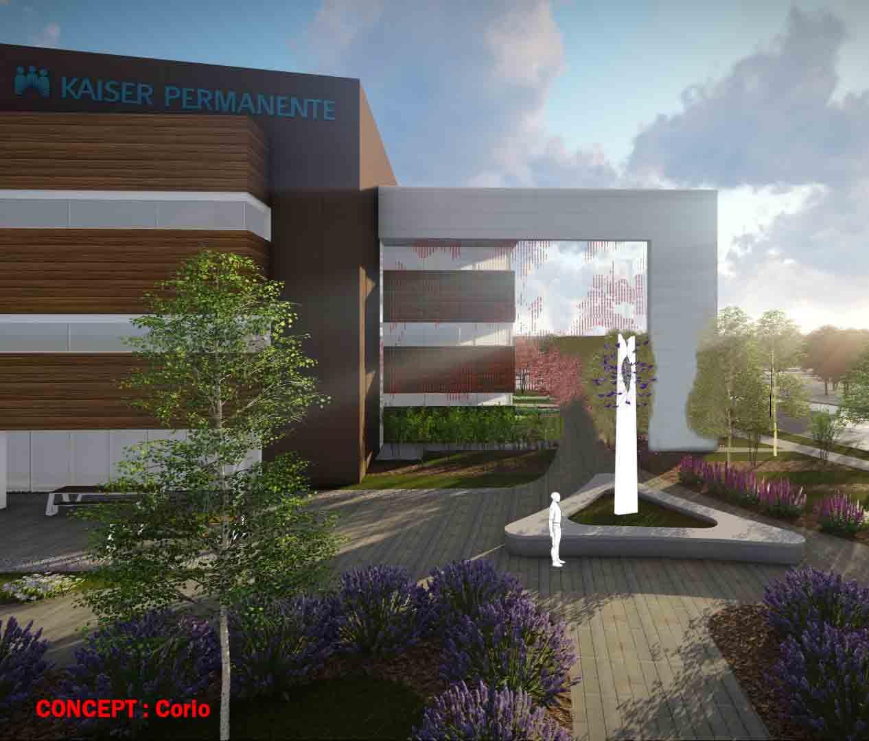 Exterior Sculpture Design Kaiser Permanente Beaverton Medical