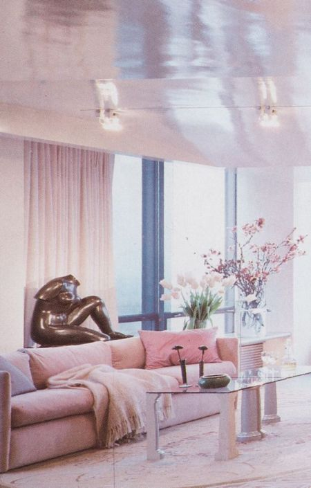 Probably just about the most 80's interior: pastel, mauve, metals.