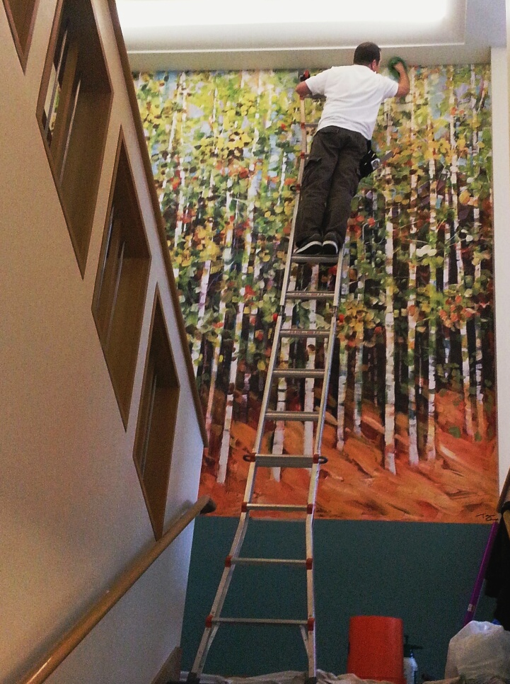 """Studio Art Direct installs an original painting on sustainable/green wallpaper at a medical office building. This is an excellent example of a painterly style on very textured material – it looks like canvas. """"Seasons"""" by T Avery from the  Studio Art Direct licensed art collection."""
