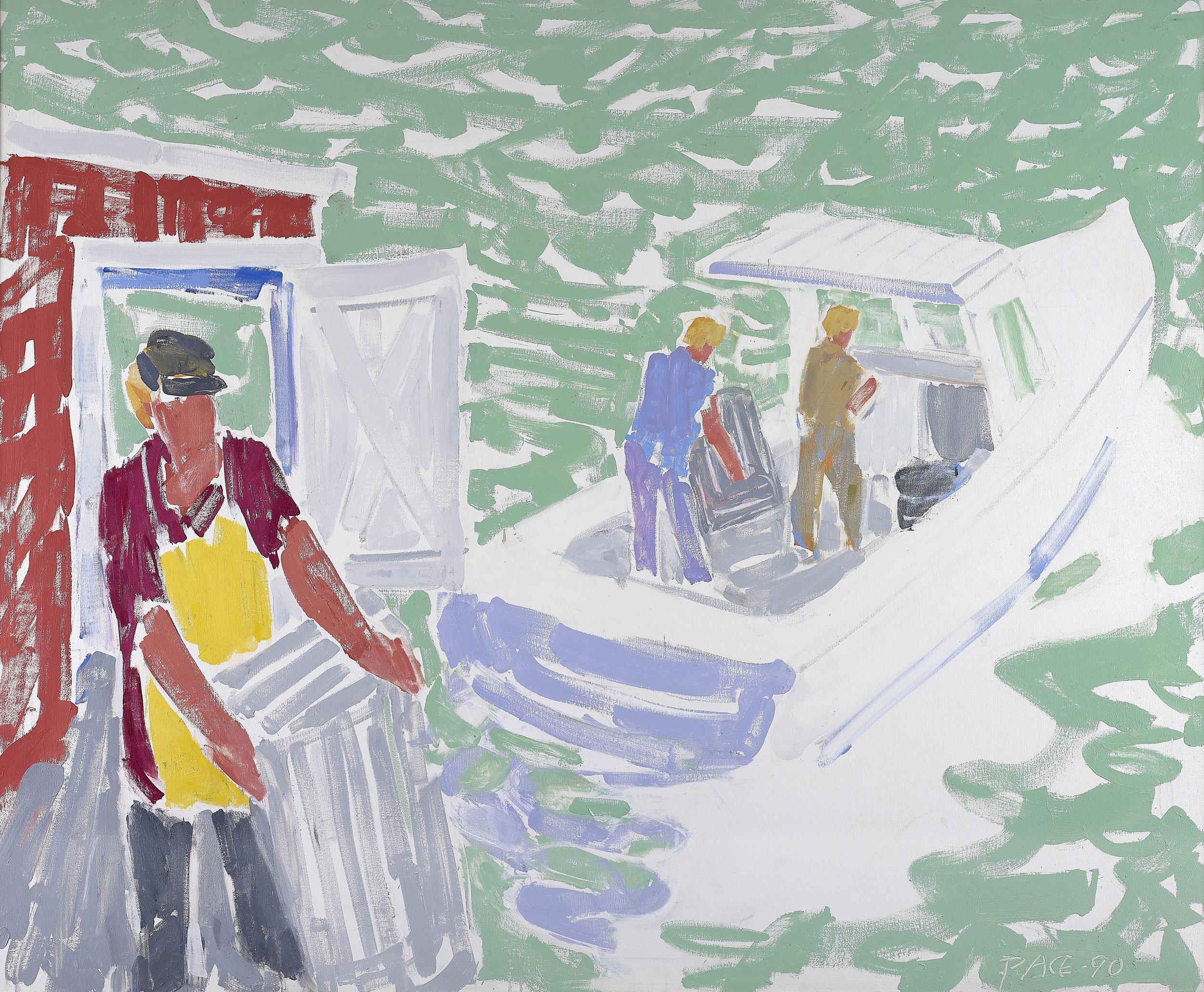 Leaving Co-op Pier (90-13), 1990