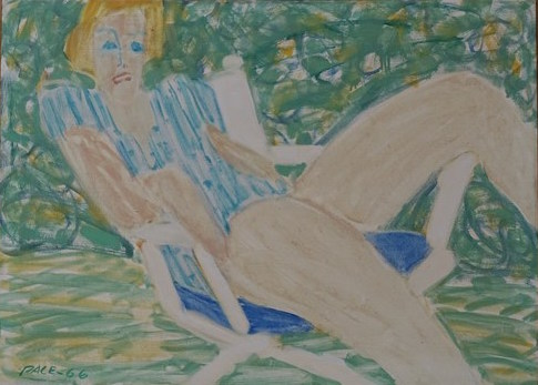 Joan Seated at the Arbor (66-P2), 1966 Oil on Canvas 26 x 36 in.