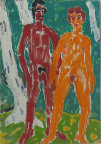 Adam and Eve (71-1), 1971  Oil on Canvas   46 x 32 x 0 3/4 in.