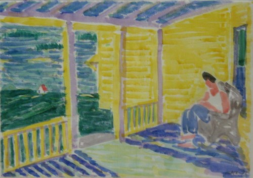 Pam on Porch (72-W3), 1972 Watercolor on Paper    27 1/2 x 35 1/2 x 1 1/2 in.