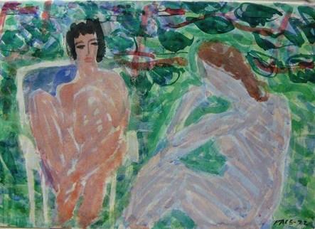 2 Nudes in Garden, 1972 Watercolor on Paper  22 1/2 x 30 3/4 in.