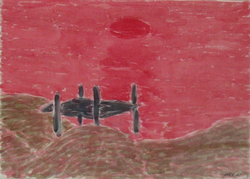 Red Sunset with Sand Beach (81-W2), 1981 Watercolor on Paper   27 1/2 x 35 x 1 3/4 in.