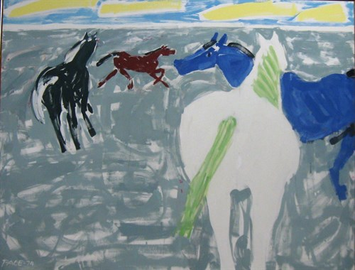 4 Horses (74-11), 1974 Oil on Canvas  73 x 93 x 1 1/2 in.