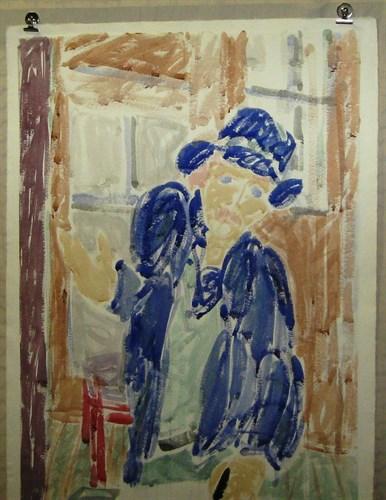 Self-Portrait, Blue Hat, 1981 Watercolor on Paper  40 x 27 1/4 in.