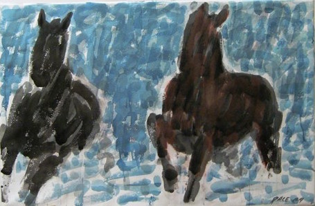 Two Horses in Shallows, 1989 Watercolor on Paper    27 1/2 x 41 in.