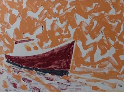 Sardine Boat, Tangerine Sky (90-7), 1990 Oil on Canvas 34 x 46 in.