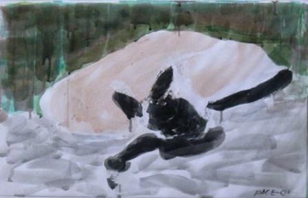 Ghengis Sleeping #3, 2001 Watercolor on Paper 17 3/4 x 27 in.
