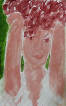 Linda, Arms Upraised, 2005 Watercolor on paper 27 x 17 in.
