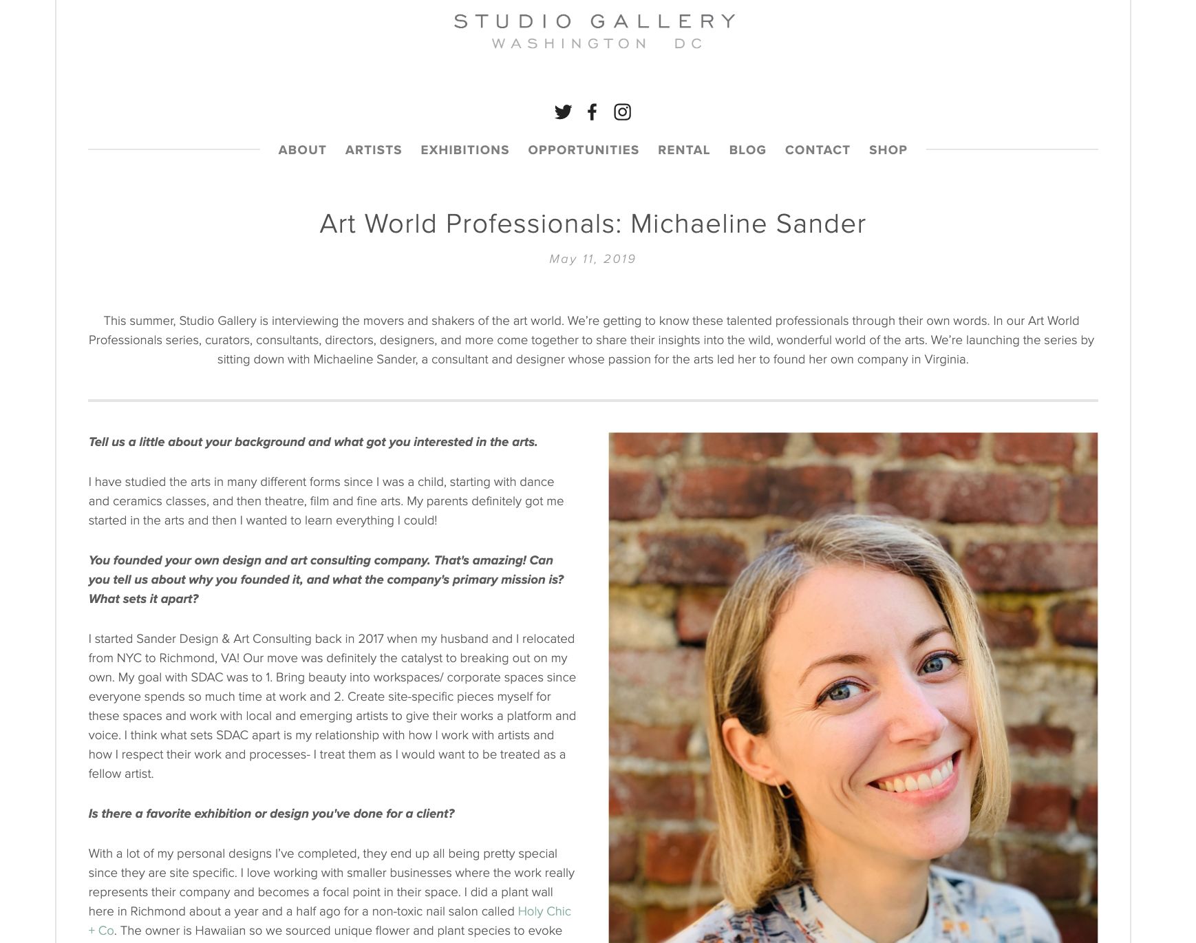 Click on image above to read the full article on Studio Gallery D.C.'s blog!