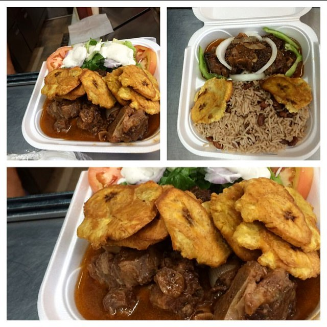 Ooouuh wee look at here @bongoutbbq dinner is ready #littlehaitibaby🇭🇹 #zoekitchen #zoefood #oxtail #bannann #diri #kole 8427 NE 2nd Ave