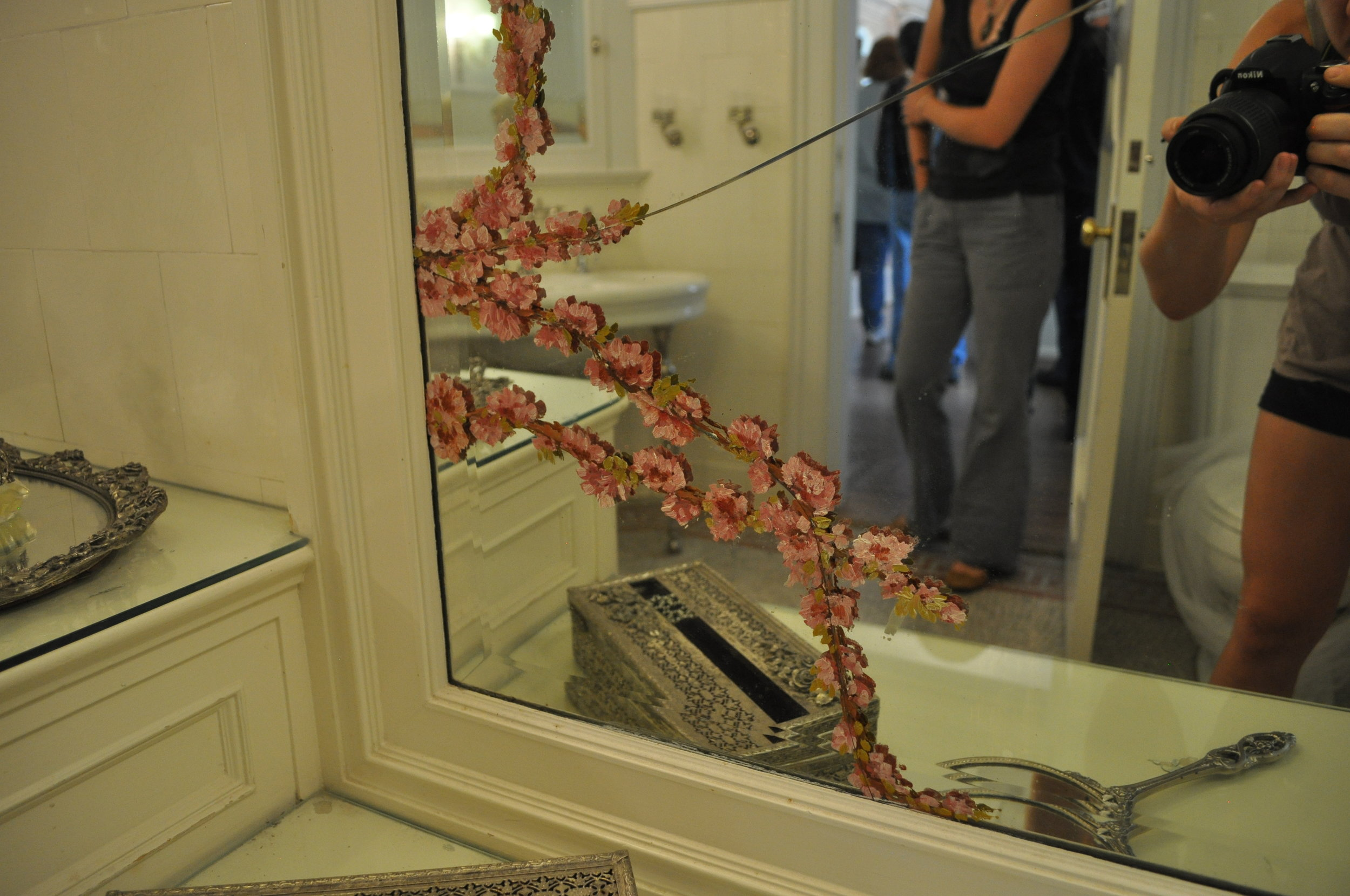 Osgood's wife, referred to as 'Lady Bountiful', hired a painter from Europe to paint this floral detail to conceal a mirror crack that developed in her bathroom