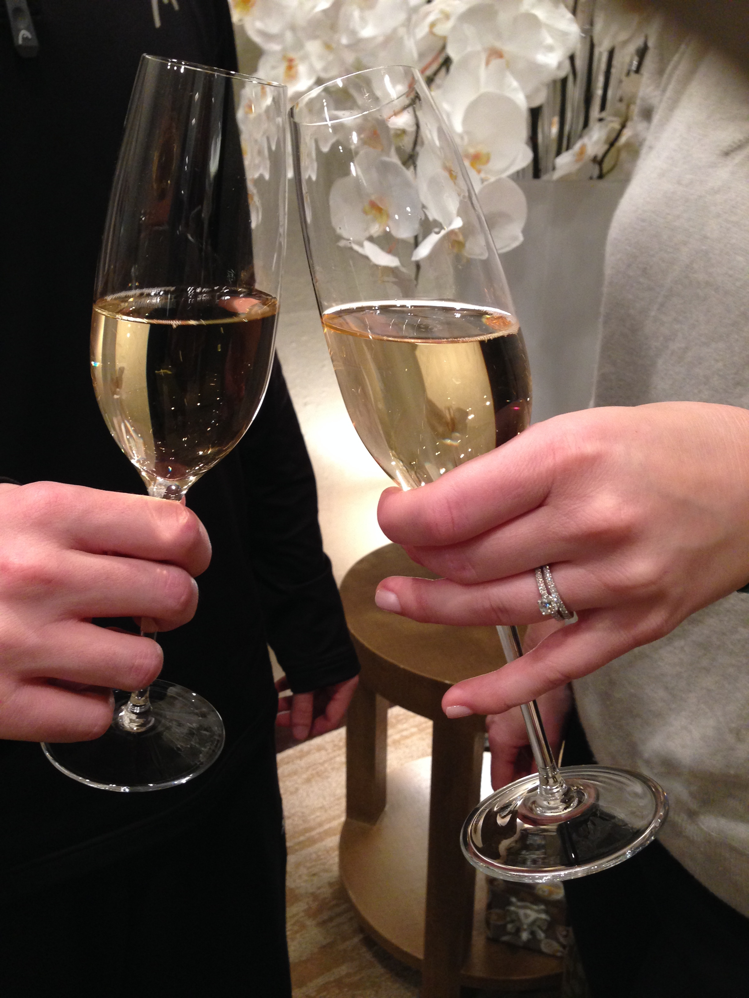 Toasting the first wearing of our rings