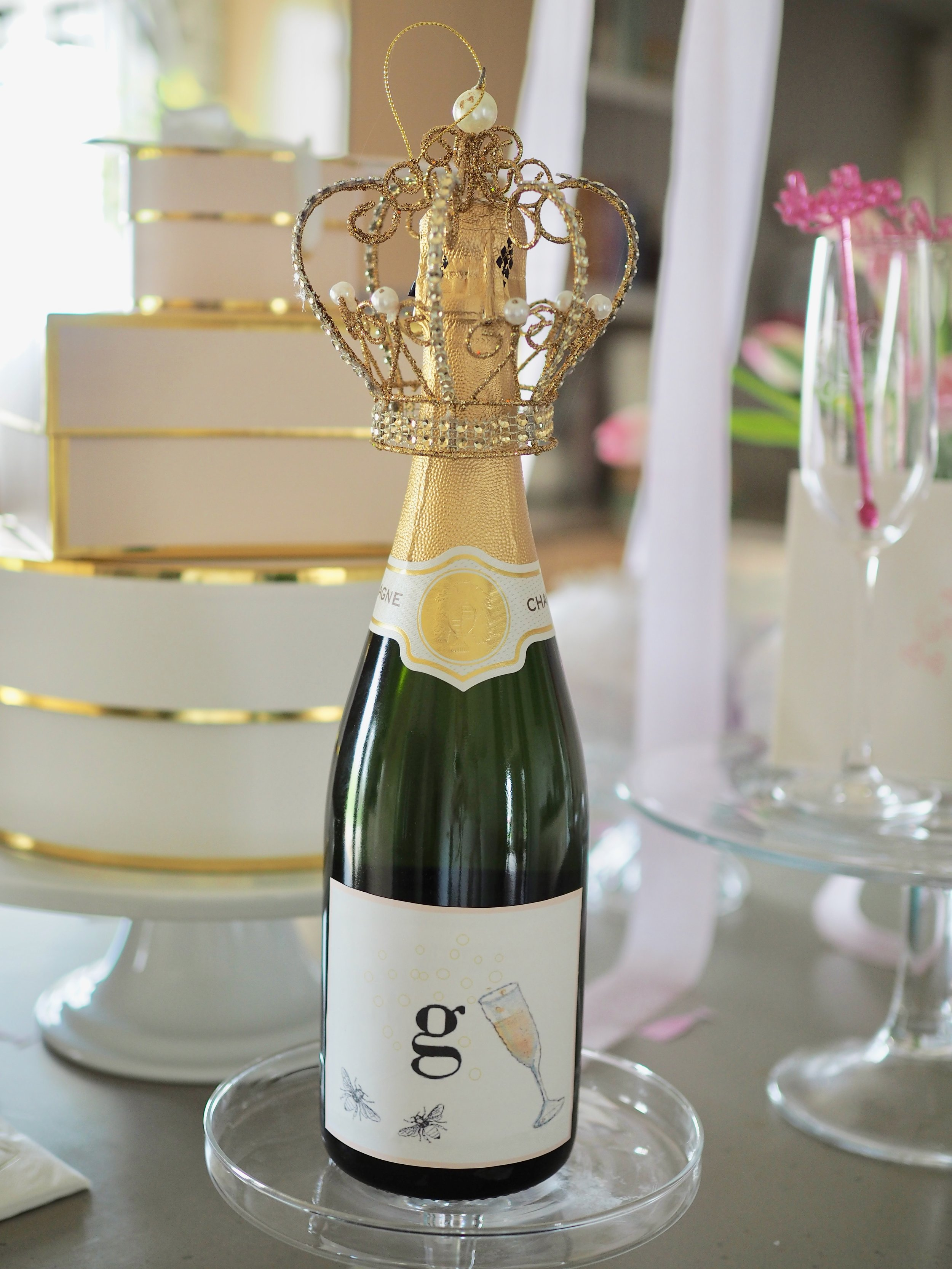 Christina designed these Champagne bottle labels