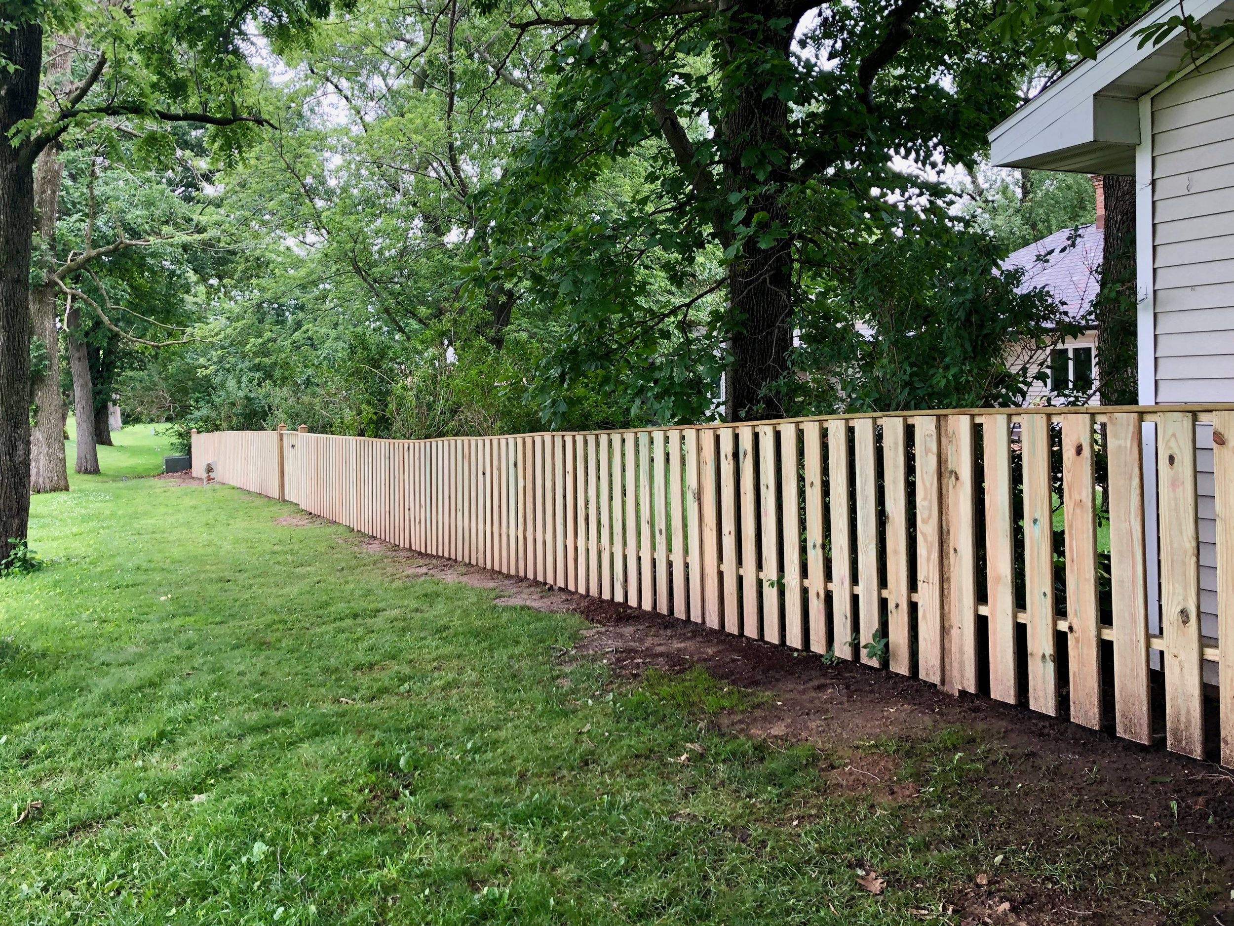 The longest fence run which follows the sloping terrain
