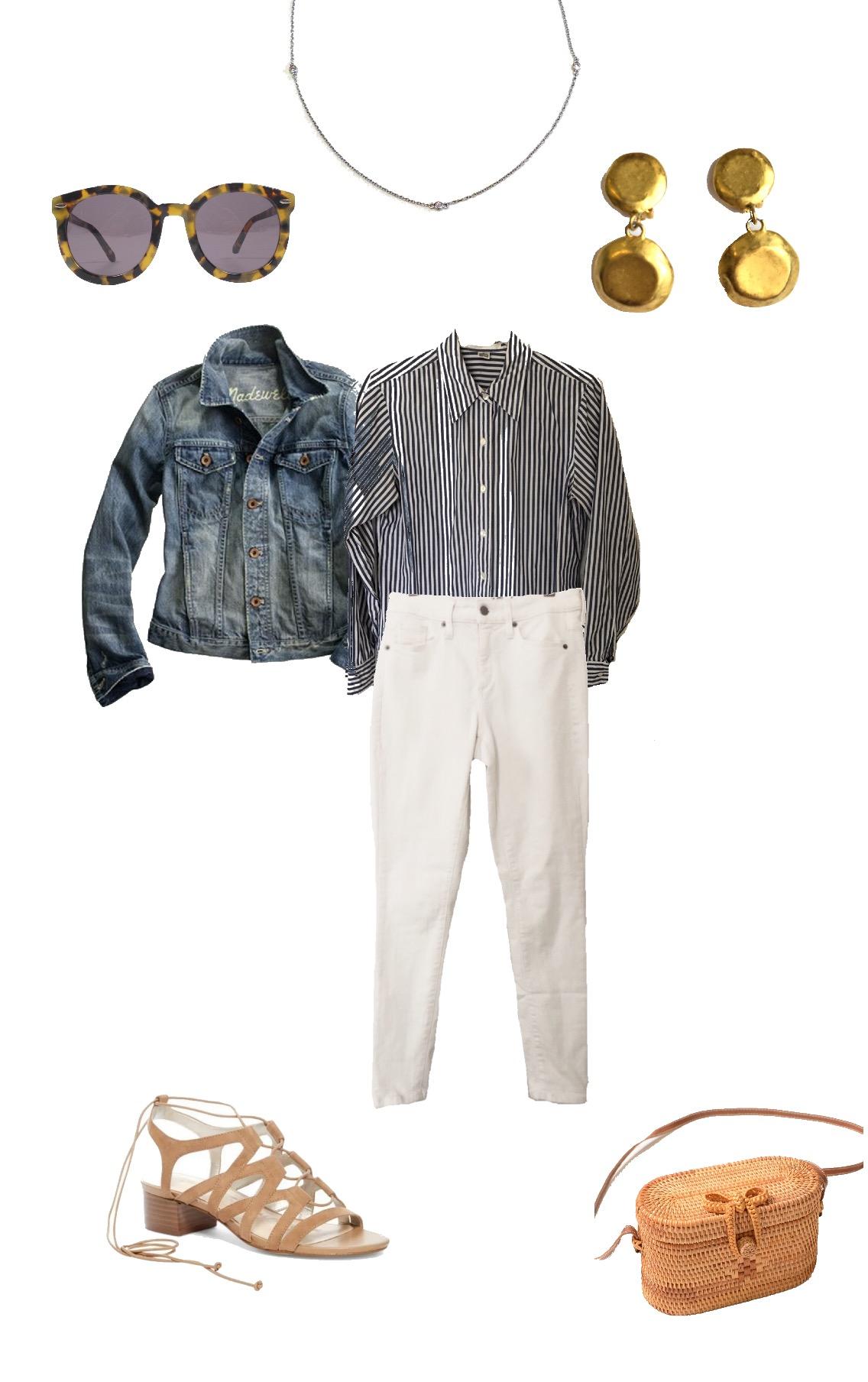 Karen Walker Sunglasses    , Diamond Necklace (similar     here    ), Gold Earrings (similar     here    ), Madewell Jean Jacket (similar     here    ), Blue Striped Shirt (similar     here    ), White Jeans (similar     here    ), Sam Edelman Sandals (similar     here    ),     Woven Purse