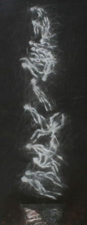 #8 , 13 x 32 inches, pastel collage, 1995