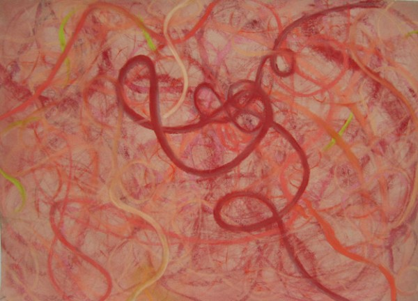 Red Coil , 19 x 25 inches, Pastel on Paper, 2007