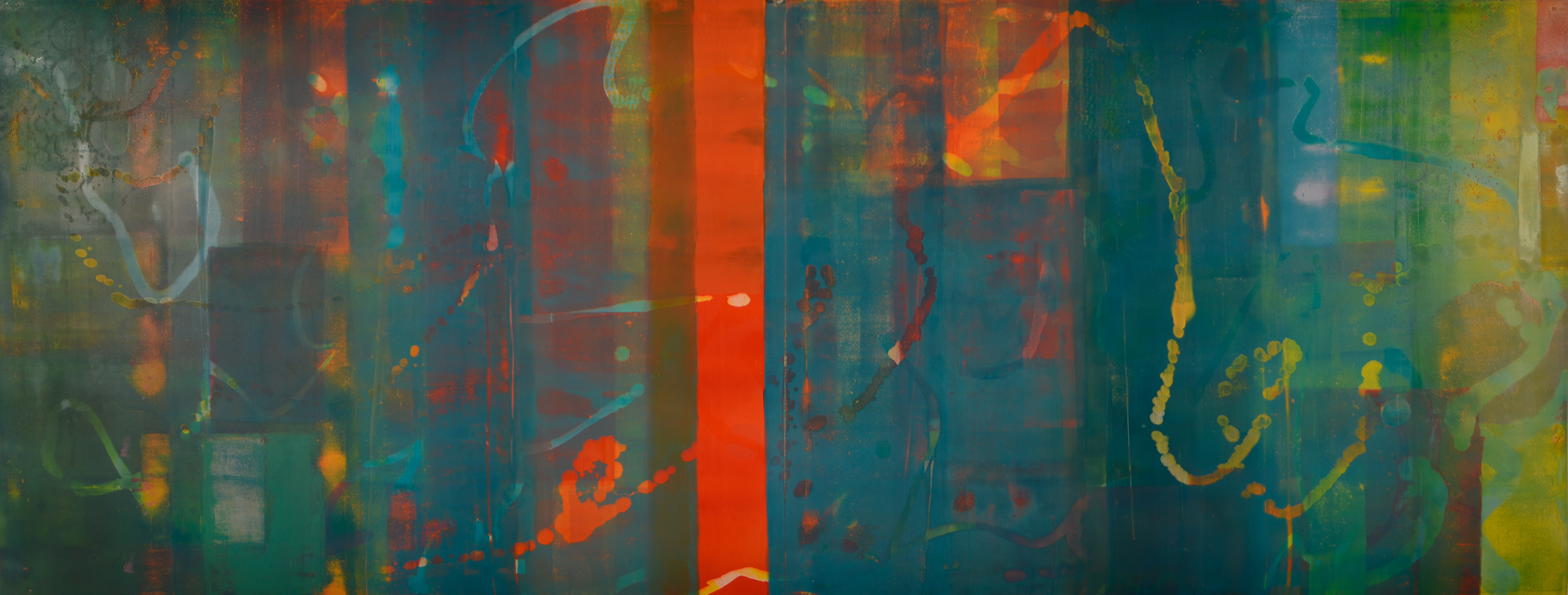 """Pentimento #24, 20"""" x 52"""", oil on paper"""